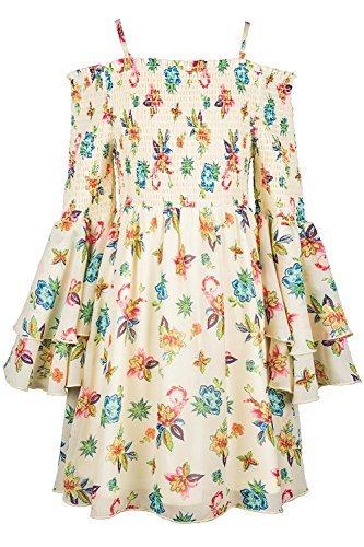 Truly Me, Big Girls Tween Cascading Ruffle Chiffon Dress, 7-16 (14, Pastel Yellow) -