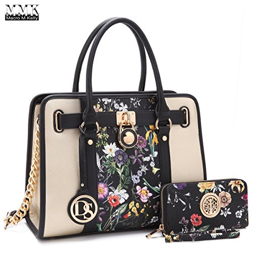MMK collection Fashion Handbag with coin purse(XL-11) Classic Women Purse Handbag for Women` Signature fashion Designer Purse ~ Perfect Women Satchel Purse (XL-02-7103W-BKF)