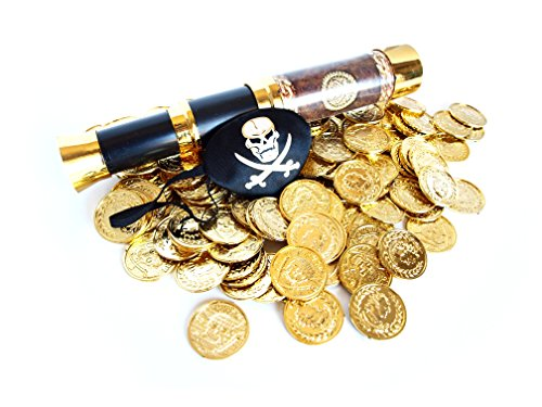 Pirate Play Set- 144 Plastic Gold Treasure Coins, Telescope, and Captain's Eye Patch by Express Novelties Online (Jake And The Neverland Pirate Boots)