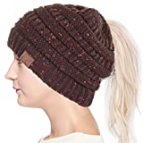 ScarvesMe C.C Confetti BeanieTail Ponytail Messy Bun Solid Ribbed Beanie Hat Cap (Brown)