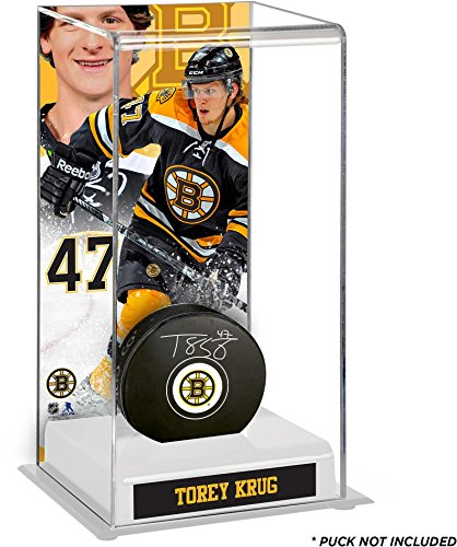 torey-krug-boston-bruins-deluxe-tall-hockey-puck-case-fanatics-authentic-certified-nhl-puck-display-