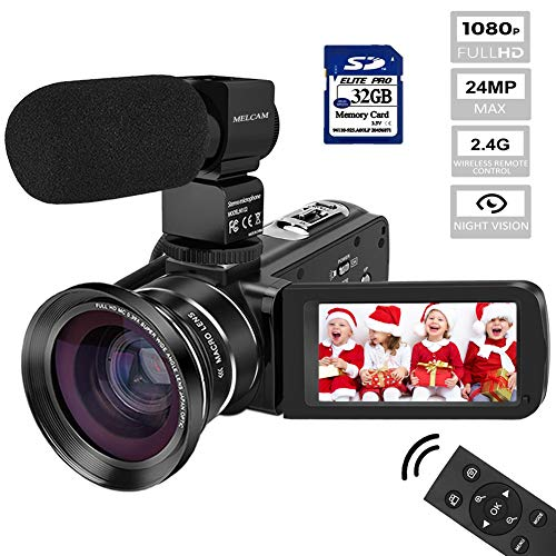 Video Camera Camcorder MELCAM HD 1080P Digital YouTube Vlogging Camera with 3.0 Inch IPS Touch Screen+External Microphone + IR Night Vision + Wide Angle Lens + 2.4G Remote Control +32GB Memory Card