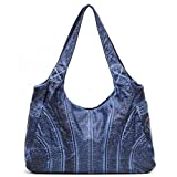 Ali Victory Large Women Hobo Shoulder Bags PU Leather Handbags Fashion Tote (Navy Blue)