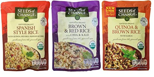 Seeds of Change Organic Heat & Eat Rice Side Dish 3 Flavor Variety Bundle: (1) Quinoa, Brown Rice w/Garlic, (1) Brown & Red Rice w/Chia & Kale, and (1) Spanish Style Rice w/Quinoa, 8.5 Oz Ea (3 Tot)
