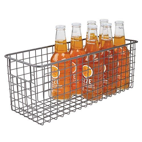 "mDesign Narrow Farmhouse Decor Metal Wire Food Storage Organizer Bin Basket with Handles for Kitchen Cabinets, Pantry, Bathroom, Laundry Room, Closets, Garage - 16"" x 6"" x 6"" - Graphite Gray"