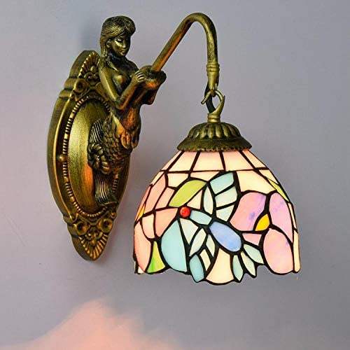 Smyzll Fashion Flesh Country Flowers Mirror Light Fashion Rustic Wall lamp Bed Lamps-See Chart