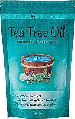 Tea Tree Oil Foot Soak With Epsom Salt, Helps Soak Toenail Fungus, Athletes Foot & Stubborn Foot Odor – Softens Calluses & Soothes Sore Tired Feet -16oz by Purely Northwest