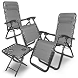 88Rose Zero Gravity Chairs Table with Cup Holder Set 3 Pieces Adjustable Folding Lounge Recliners with Head Rest Pillow for Patio Outdoor Yard Beach Pool Support 350lbs (Grey)