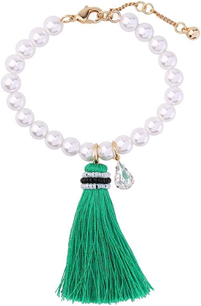 lcycccc Pulsera Mujer, línea Borla Perla sintética, Gota de Agua Colgante de Piedras Preciosas, Pulsera de Borla de Perla, 20 cm