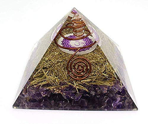 (Orgone Pyramid Energy Generator - Crown Chakra Symbol Orgonite Amethyst Crystal Pyramid with Brass Metal for EMF Protection - Chakra Balancing-Healing-Meditation-Yoga)