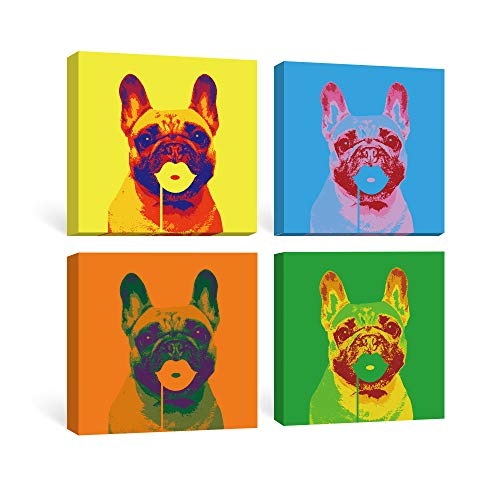 SUMGAR Canvas Wall Art Living Room Pop Blue Pictures Animal Framed Paintings Yellow Dog Artwork Colorful Prints French Bulldog Gifts 4 Panel,12x12 - French Bulldog Artwork
