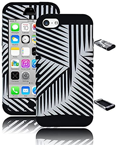 Bastex Heavy Duty Zebra Hybrid Case for Apple Iphone 5c I5c - Black Silicone - White with Black Stripe Hard Shell (Iphone 5c Boost Mobile White)