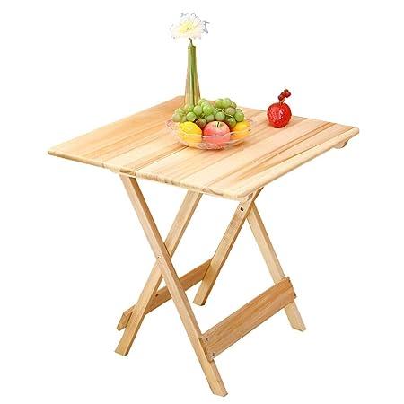 Alppq Mesa plegable de madera maciza Mesa portátil simple Cena de ...