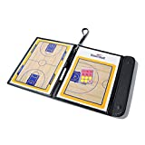 Odowalker Basketball Tactic Coaches Strategy Board Coach's Training Equipment Aids,Dry Erase Coaching Marker Tactics Board Whiteboard,PU Leather Cover,Lightweight and Portable