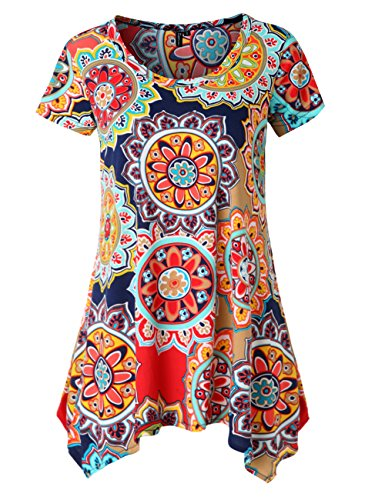 Zattcas Womens Short Sleeve Flare Tunic Tops Loose Fit Print Summer Tunic Shirt (XX-Large, Navy Red)