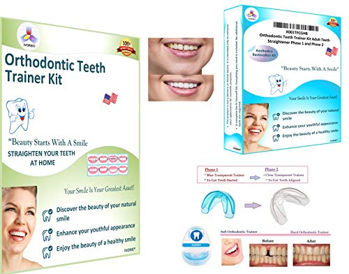 Orthodontic Teeth Trainer Kit Adult Teeth Straightener Phase 1 and Phase 2 (Close Gap In Front Teeth Without Braces)