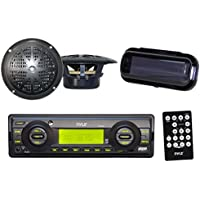 Indash Marine Radio 200W SD Card USB Input 4 Black Round Speakers Stereo Cover