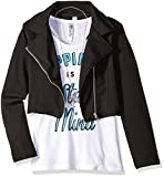 Beautees Big Girls' 2 Pc. Solid Quilted Moto Jacket with Screen Tee, Lost, Black 1, Large