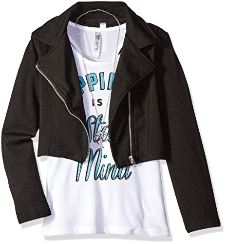 Beautees Big Girls' 2 Pc. Solid Quilted Moto Jacket with Screen Tee, Lost, Black 1, Large by Beautees