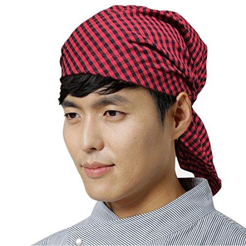 ChefsUniforms Adjustable red Sushi Japanese Kitchen Waiter Chef hat Cook Skull Cap for Men and Women