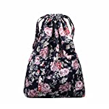 Cheap Drawstring Backpack Original Tote Bags for Women Girls Travel Shopping Rucksack Shoulder Gym bags (L size Flower-1)