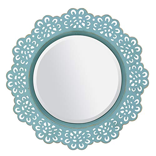 Wall Hanger Set Brass (CKK Industrial LTD Stonebriar Round Decorative Metal Lace Hanging Wall Mirror with Attached Hanger, Blue with Brass Highlights)