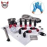 EVIL ENERGY 6AN Adjustable 4.5-9 PSI Fuel Pressure Regulator Gauge Kit with Return for Carburetors