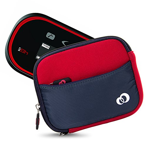 Mini Portable WiFi HotSpot Modem & Router Mobile Carrying Case Sleeve for Verizon, AT&T, Sprint, Virgin Mobile, T-Mobile, MiFi Jetpack 4G LTE + Secure Hand Wrist Strap (Red Navy)