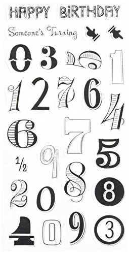 - Inkadinkado Happy Birthday Numbers Unmounted Clear Rubber Stamp Set for Cards and Scrapbooking, 4'' L x 8'' H, 27 pc.