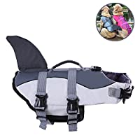 Albabara Ripstop Adjustable Dog Life Jacket with Rubber Handle Pet Puppy Saver Swimming Water Life Vest Preserver Flotation Aid Buoyancy Fish and Shark Style with fin for Small Medium, Large Dogs