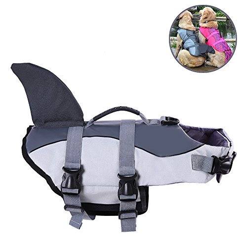 - Albabara Ripstop Adjustable Dog Life Jacket with Rubber Handle Pet Puppy Saver Swimming Water Life Vest Preserver Flotation Aid Buoyancy Fish and shark Style with fin for Small Medium, Large Dogs
