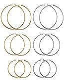 FIBO STEEL 6 Pairs Stainless Steel Hoop Earrings for Men Women Earrings Set 40-60mm (E:6 Pairs in SG)