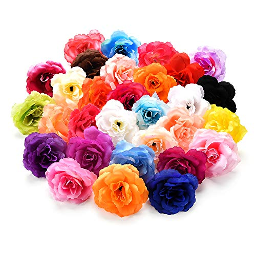 Artificial Flower Artificial Rose Silk Flower Heads Silk Flower Wedding Decoration DIY Wreath Gift Box Scrapbooking Craft Fake Flowers 30pcs 7cm (Multicolor)