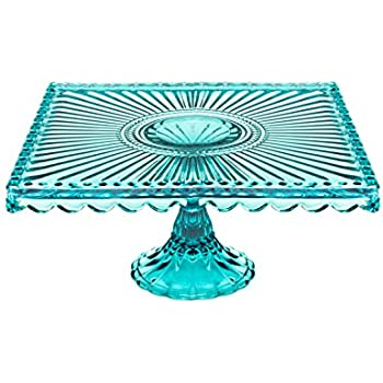 Loire Glass Square Cake Stand Blue