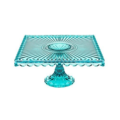 - Caroline Glass Square Cake Stand - Blue 7.75 inch square