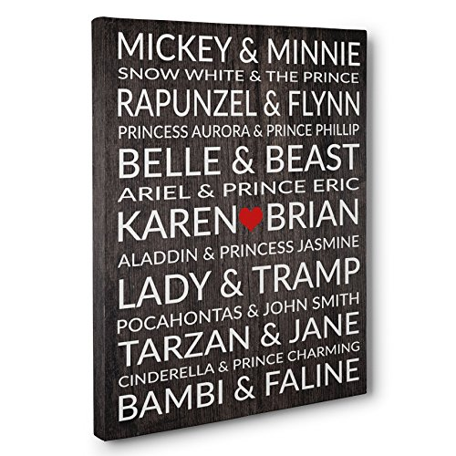 Famous Disney Couples Personalized Wedding Anniversary Gift CANVAS Gallery Wrap (Wedding Couple Canvas)