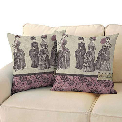 (Victorian,Custom Zippered Pillow Case Ladies Clothes Fashion History Dress Handbag Feather Gloves Floral Design Print 16