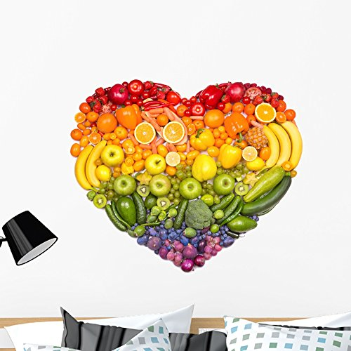 Wallmonkeys Healthy Rainbow Heart Wall Decal Peel and Stick Business Graphics (36 in W x 31 in H) WM222314 by Wallmonkeys