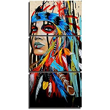 d44392298c5 Native American Indian Canvas Wall Art Paintings Woman Girl Colorful  Feathered Prints in 3 Panles Verical Paintings for Home Walls  Decoration