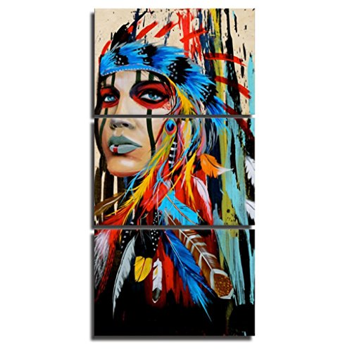 Native American Indian Canvas Wall Art Paintings Woman Girl Colorful Feathered Prints in 3 Panles Verical Paintings for Home Walls - Native Home American