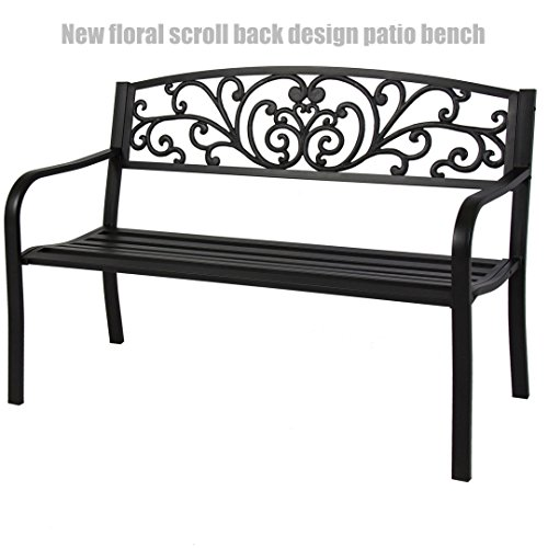 Garden Patio Steel Bench Outdoor Yard Furniture Deck Park Porch Antique Black Flower Scroll Back Design Chairs #1247 (Port Elizabeth Garden Wooden Furniture)