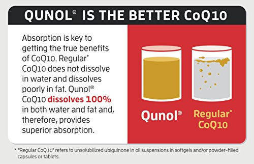 Qunol-Ultra-100mg-CoQ10-3x-Better-Absorption-Patented-Water-and-Fat-Soluble-Natural-Supplement-Form-of-Coenzyme-Q10-Antioxidant-for-Heart-Health-60-Count-Softgels