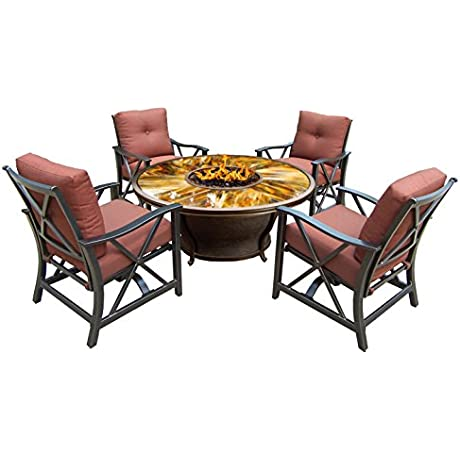Oakland Living Moonlight Round Gas Firepit Table With Tempered Fiber Glass Top Antique Bronze