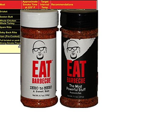 (Eat Barbecue The Most Powerful Stuff Rub 7.1 oz and Eat Barbecue Zero to Hero Sweet Rub 6.7 oz with Complimentary Miniature Meat Smoking Guide Magnet Bundle)