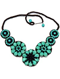 "Luxury Bib Bauble Adjustable 22-23"" Necklace Semi Gem Stone Flower 90-890-3107"