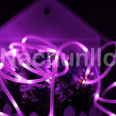 16.4ft LED Solar Rope Lights, Waterproof, 50 LEDs Soft Wire, PVC Tube Cover String Lights,Portable, Outdoor Rope Lights, Ideal for Christmas, Wedding, Party-Pink