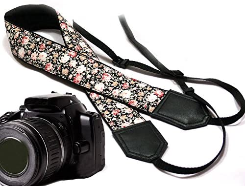 Code 00107 Light Weight and Well Padded Camera Strap Durable Beige Roses Camera Strap Flower Camera Strap Black DSLR//SLR Camera Strap