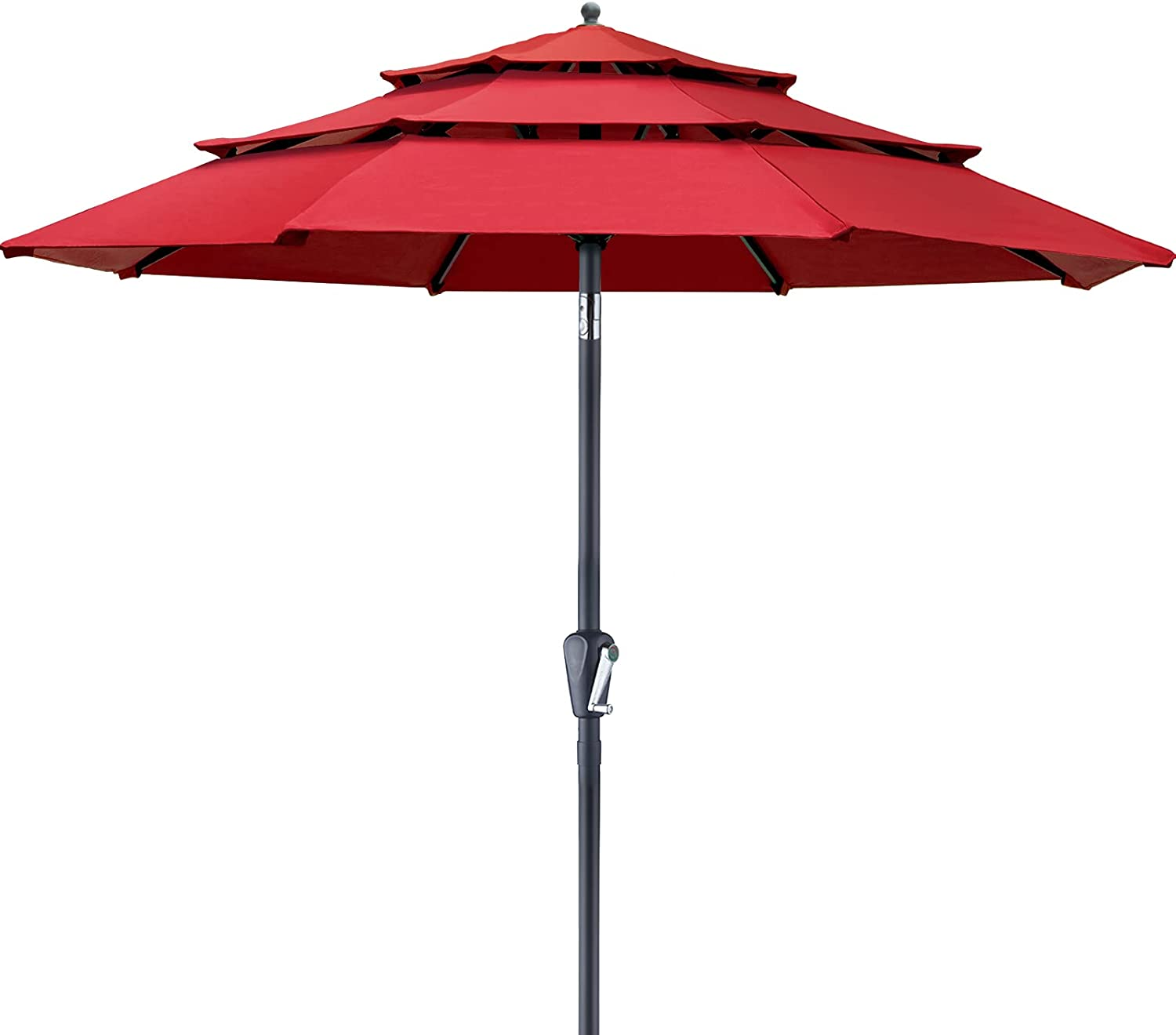 Patiassy 10ft 3 Tiers Patio Umbrella 600D 250/Gsm Solution-Dyed Fabric Outdoor Patio Table Umbrella with 8 Sturdy Ribs for Garden, Lawn, Deck, Backyard and Pool