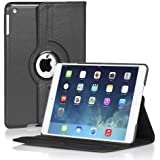 TNP Apple iPad Air Case (iPad 5th Gen, 2013 Model) Tablet - 360 Degree Rotating Stand Folio PU Leather Smart Classic Cover Case with Built-in Magnet for Auto Sleep & Wake & Stylus Holder, Black