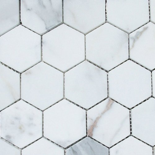 Calacatta Gold Italian Calcutta Marble Hexagon Mosaic Tile 2 inch Honed